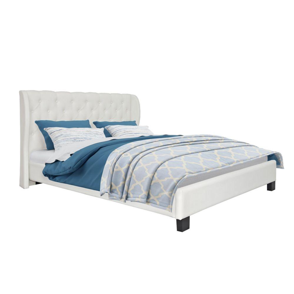 Grand lit Fairfield capitonné avec cuir reconstitué blanc