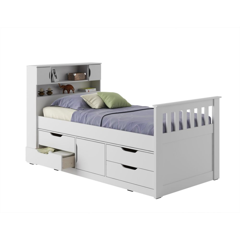 Corliving Madison Twin/Single Captain's Bed In Snow White