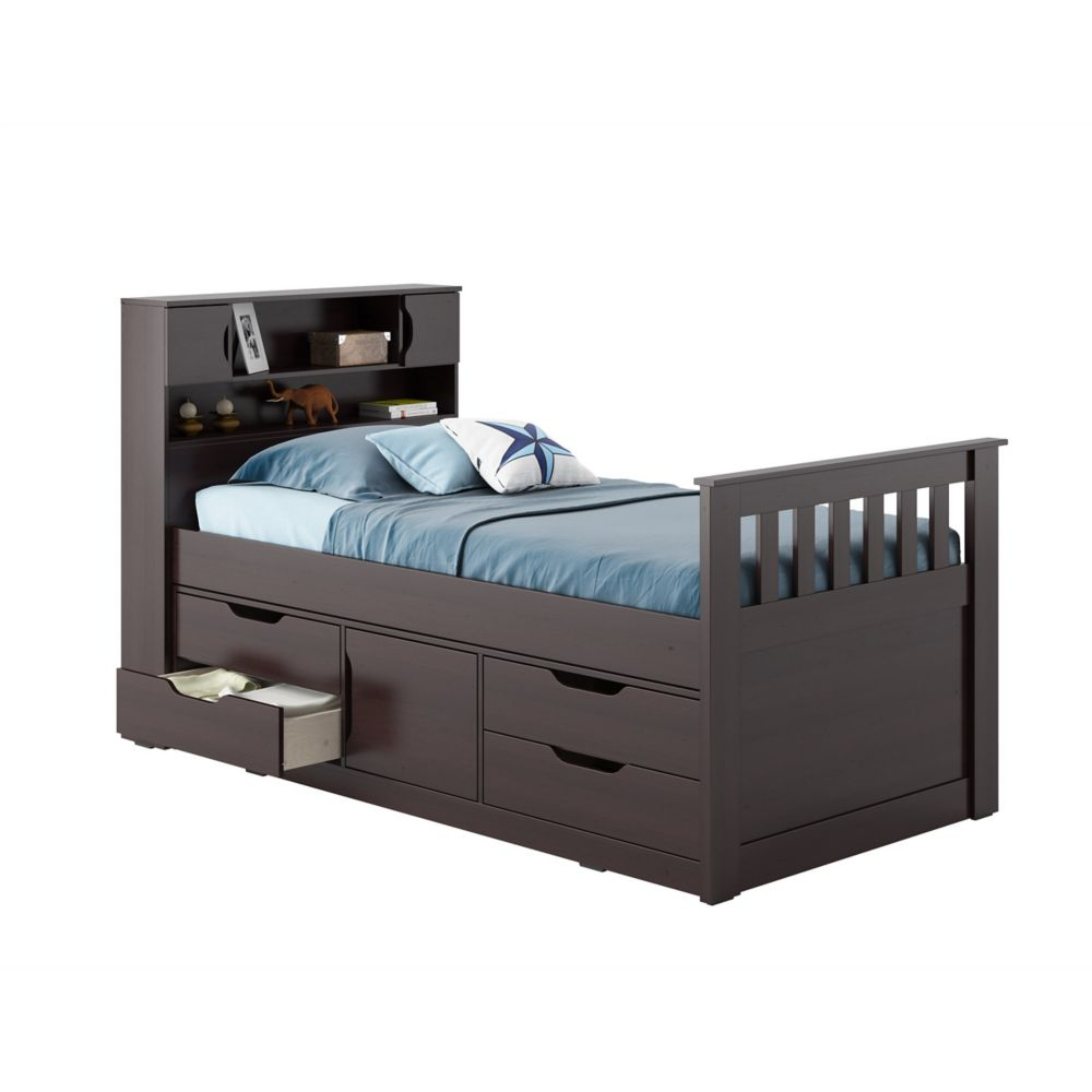 Madison Twin/Single Captain's Bed In Rich Espresso