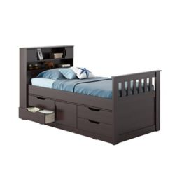 Corliving Madison Twin/Single Captain's Bed In Rich Espresso