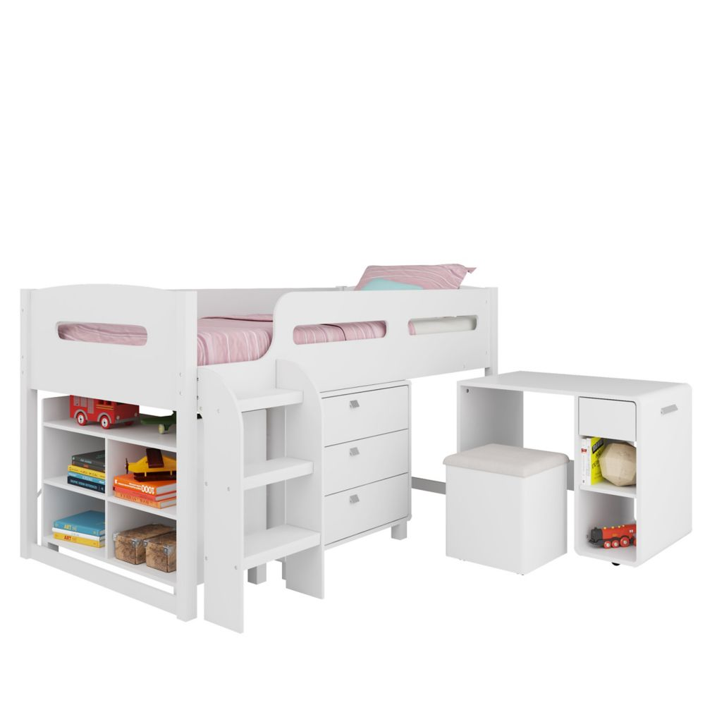 Madison 5pc All-In-One Single/Twin Loft Bed In Snow White