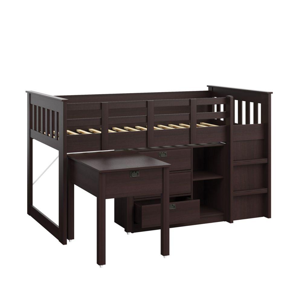 Madison 4pc All-In-One Single/Twin Loft Bed In Rich Espresso