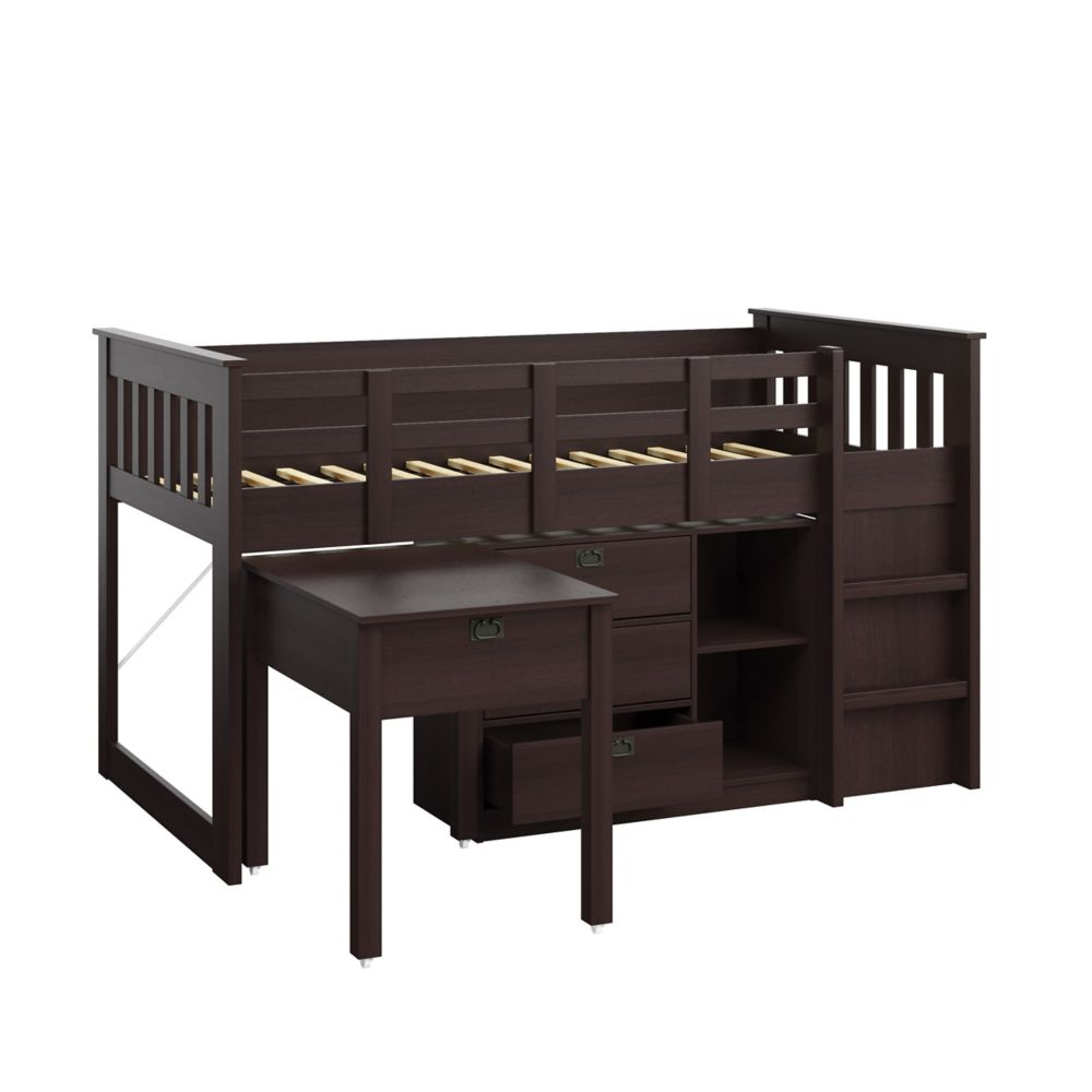 Corliving Madison 4pc All-In-One Single/Twin Loft Bed In Rich Espresso