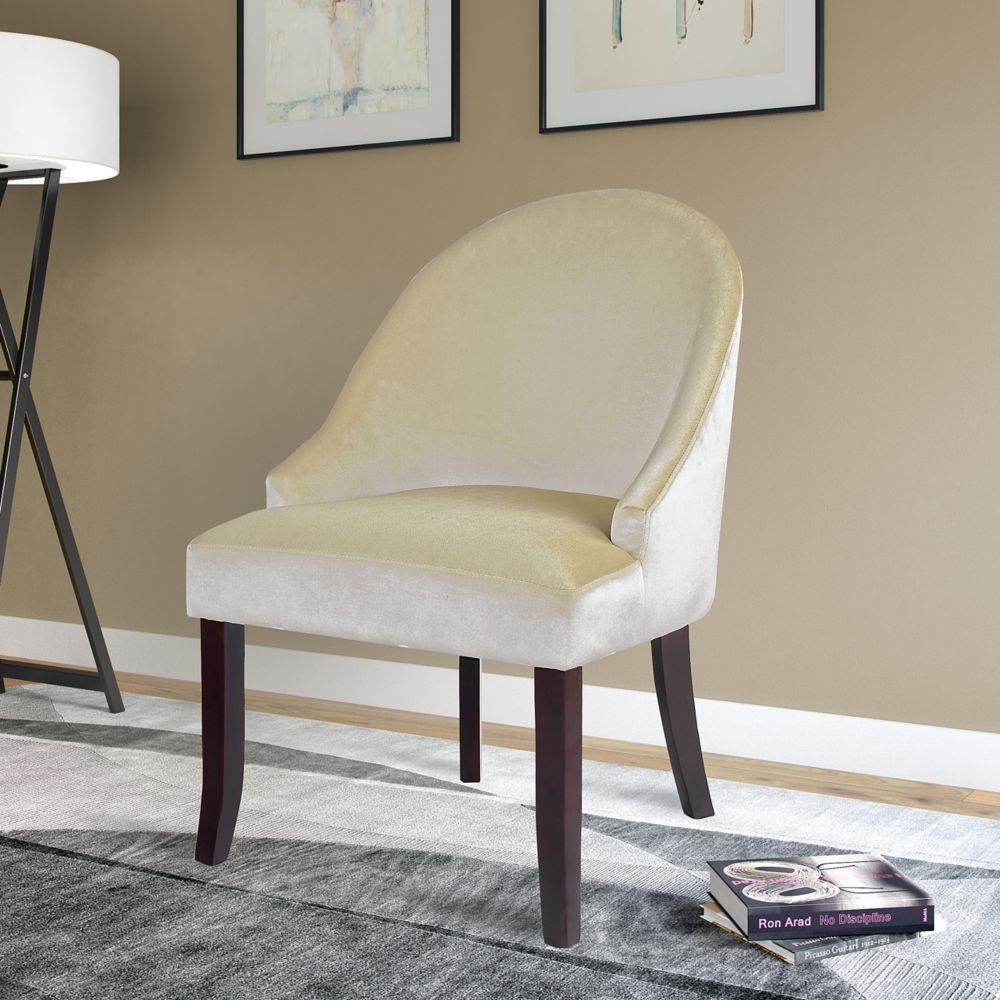 Corliving Antonio Contemporary Club Velvet Accent Chair in White with Solid Pattern