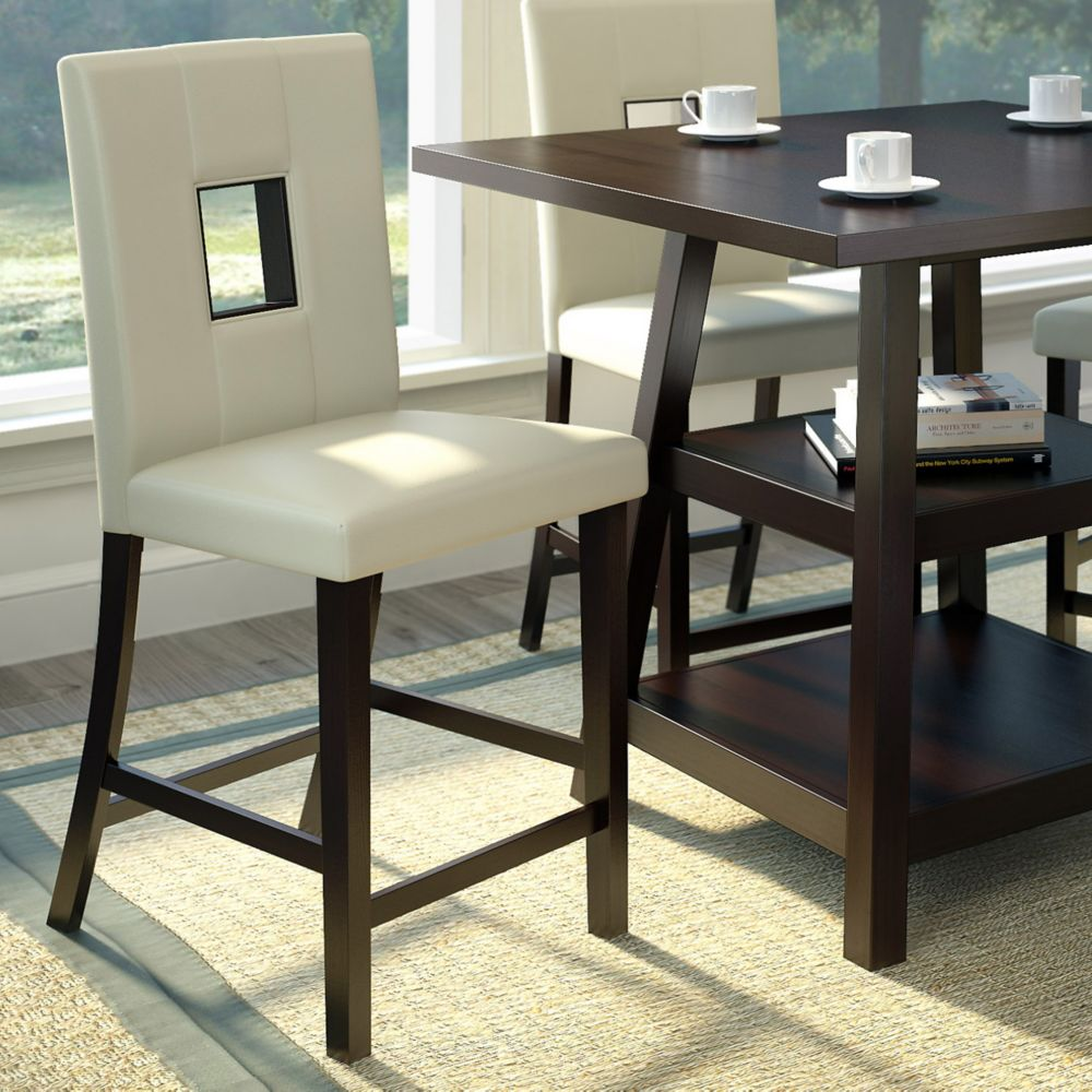 Corliving Bistro Solid Wood Brown Slat Back Armless Bar Stool with White Faux Leather Seat - (Set of 2)