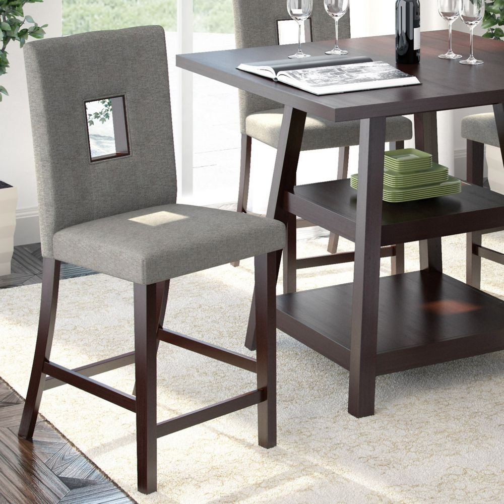 Bistro Dining Chairs In Grey Sand Fabric, Set Of 2