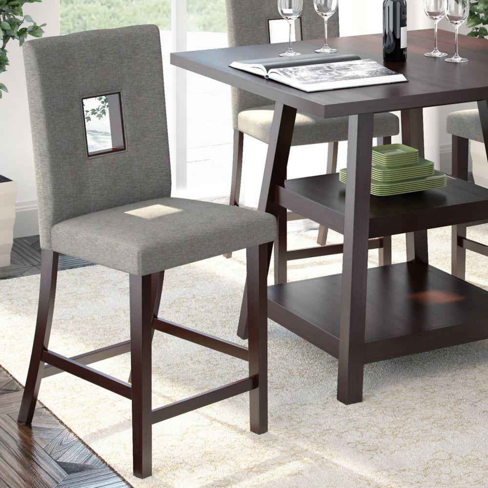 Ensemble de 2 chaises de salle à manger couleur sable argenté