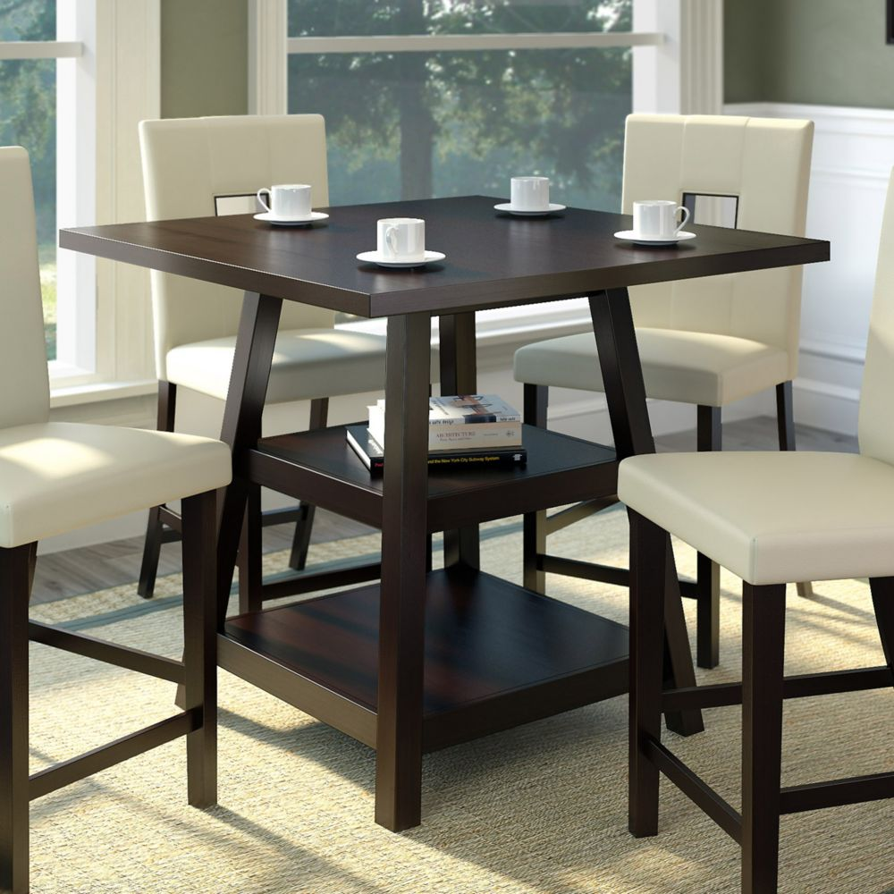 Bistro 36 Inch Counter Height Cappuccino Dining Table With Shelves