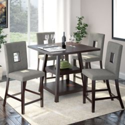 Corliving Bistro 5-Piece 36 Inch Counter Height Rich Cappuccino Dining Set - Pewter Grey
