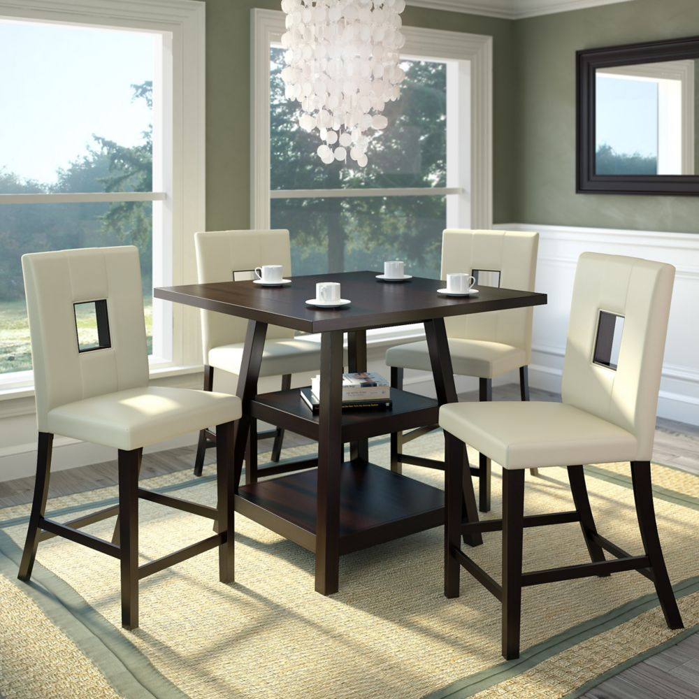 Bistro 5pc 36 Inch Counter Height Rich Cappuccino Dining Set  - White Leatherette