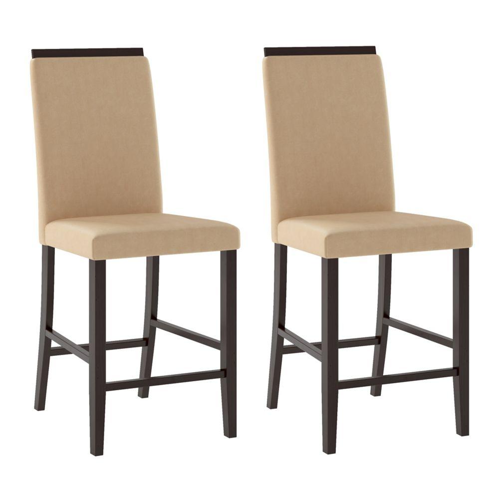 Ensemble de 2 chaises de salle à manger en tissu couleur sable