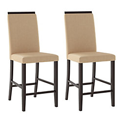 Corliving Bistro Solid Wood Oak Slat Back Armless Dining Chair with Beige Faux Leather Seat - (Set of 2)
