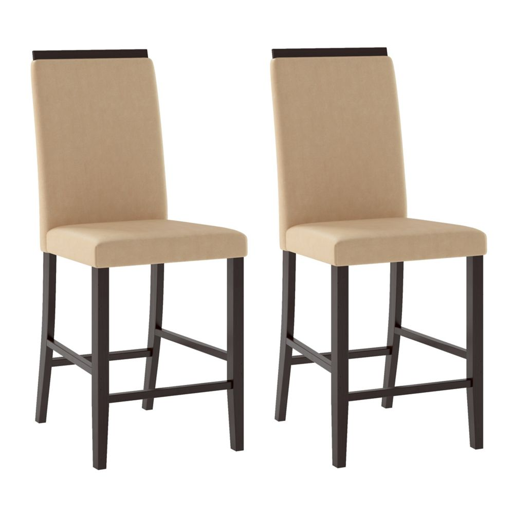 Corliving Bistro Solid Wood Oak Slat Back Armless Dining Chair with Beige Faux Leather Seat - Set of 2