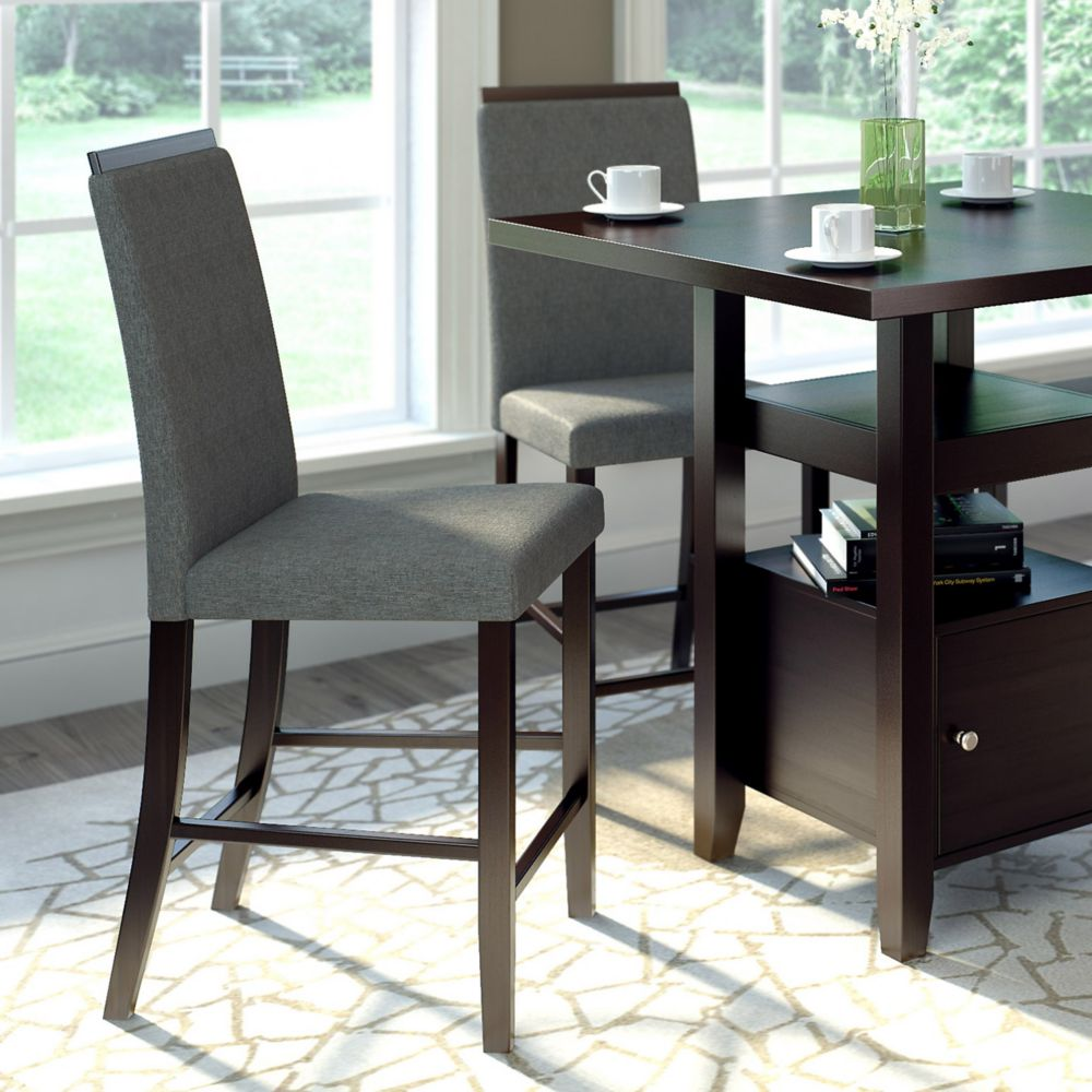 Bistro Dining Chairs In Pewter Grey Fabric, Set Of 2