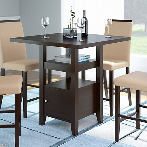 Bistro 36 Inch Counter Height Cappuccino Dining Table With Cabinet