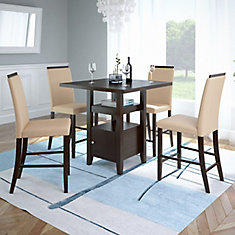 Bistro 5-Piece 36 Inch Counter Height Rich Cappuccino Dining Set - Desert Sand
