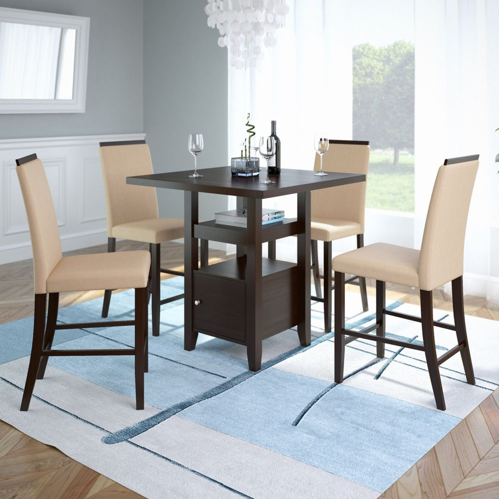 Corliving Bistro 5pc 36 Inch Counter Height Rich Cappuccino Dining Set - Desert Sand