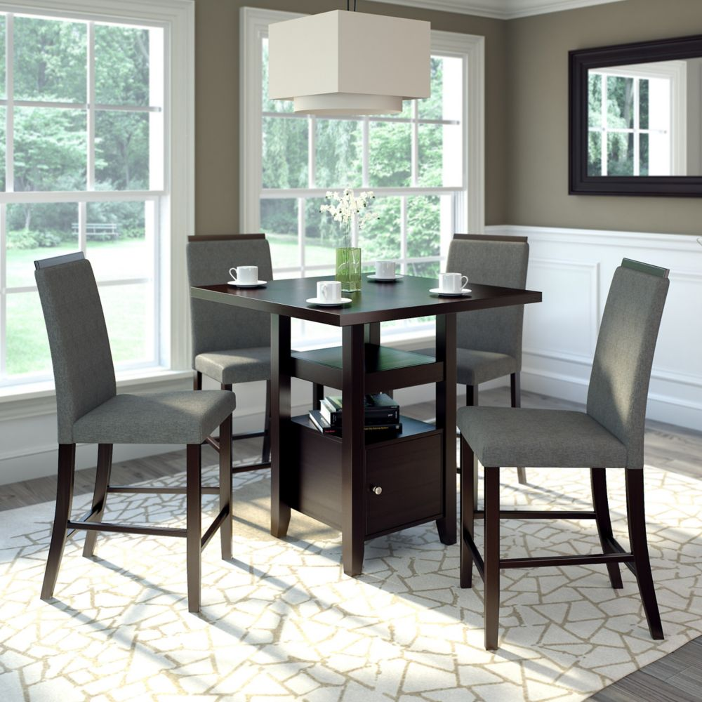 Bistro 5pc 36 Inch Counter Height Rich Cappuccino Dining Set - Pewter Grey