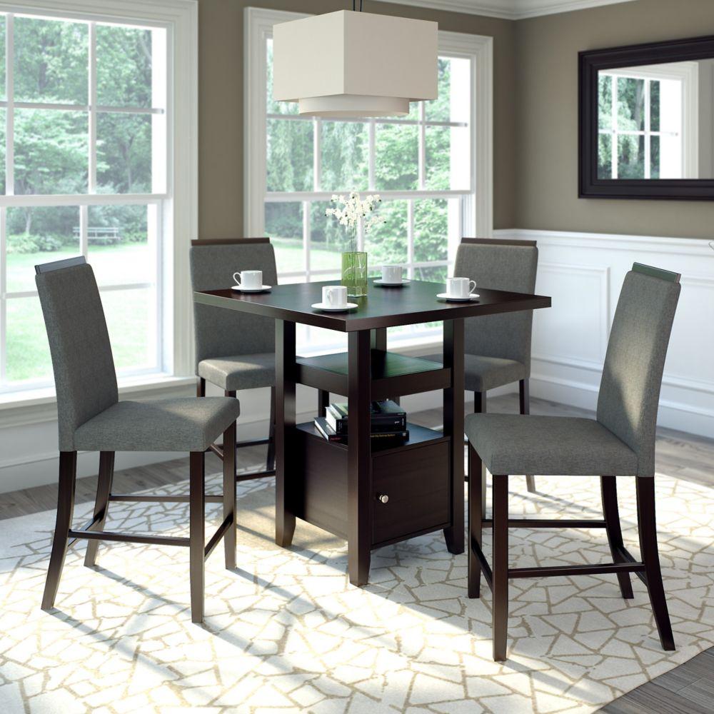 Ensemble de salle de manger 5 pièces - Tissu couleur gris étain