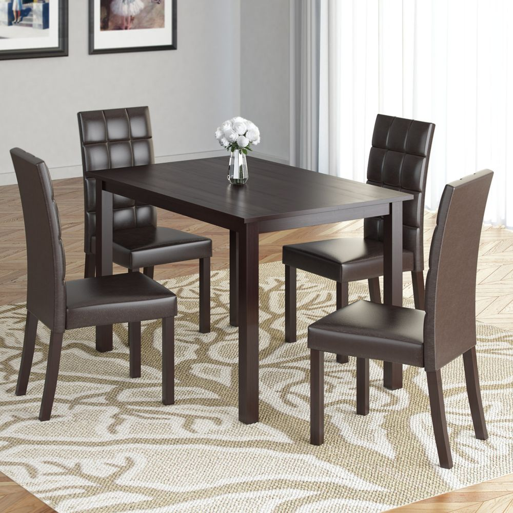 Atwood 5pc Dining Set, With Dark Brown Leatherette Seats