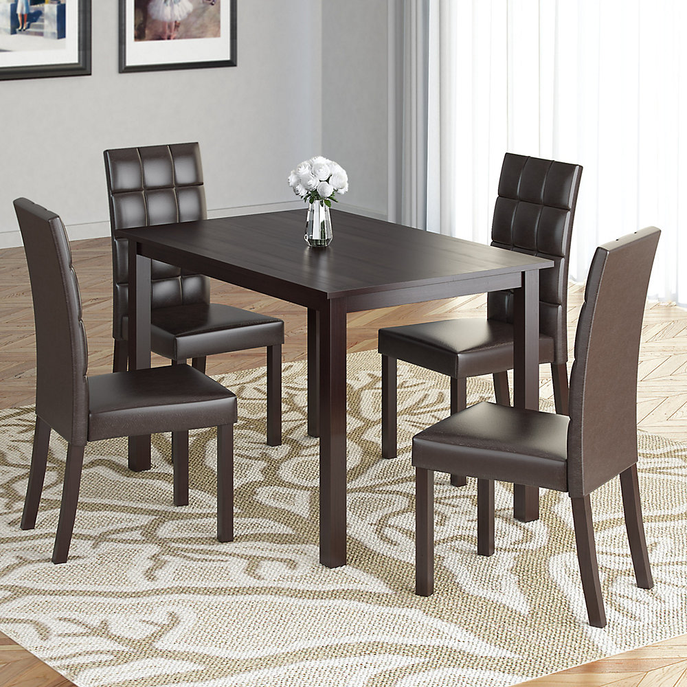 Marvelous Atwood 43 Dining Table With 4 Dark Brown Leatherette Seats Download Free Architecture Designs Ferenbritishbridgeorg