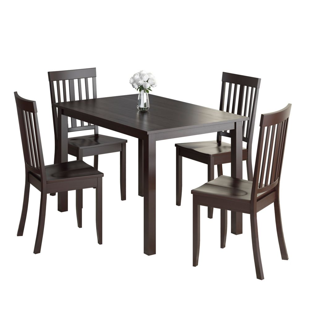 Atwood 5pc Dining Set, With Cappuccino Stained Chairs