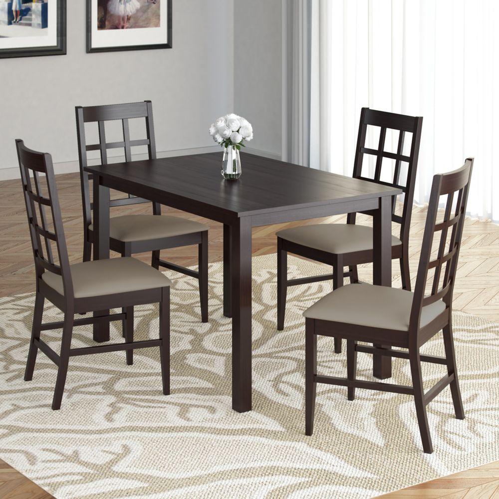 Ensemble de salle à manger 5p. avec sièges en similicuir couleur taupe