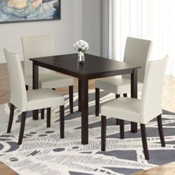"""Corliving Atwood 43"""" Dining Table with 4 Cream Leatherette Chairs"""