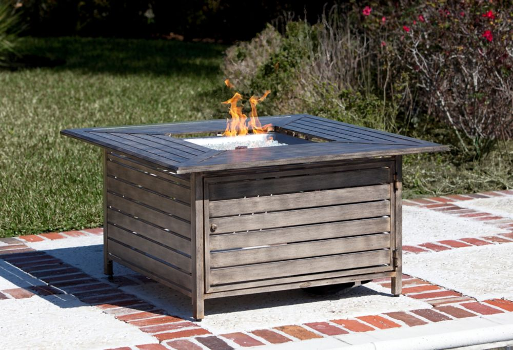 Square Aluminum  Propane Firepit Table - Driftwood