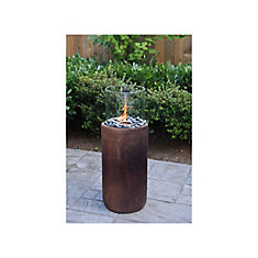 Tall Concrete Fire Column Garden Burner with Hand Painted Antique Bronze Finish