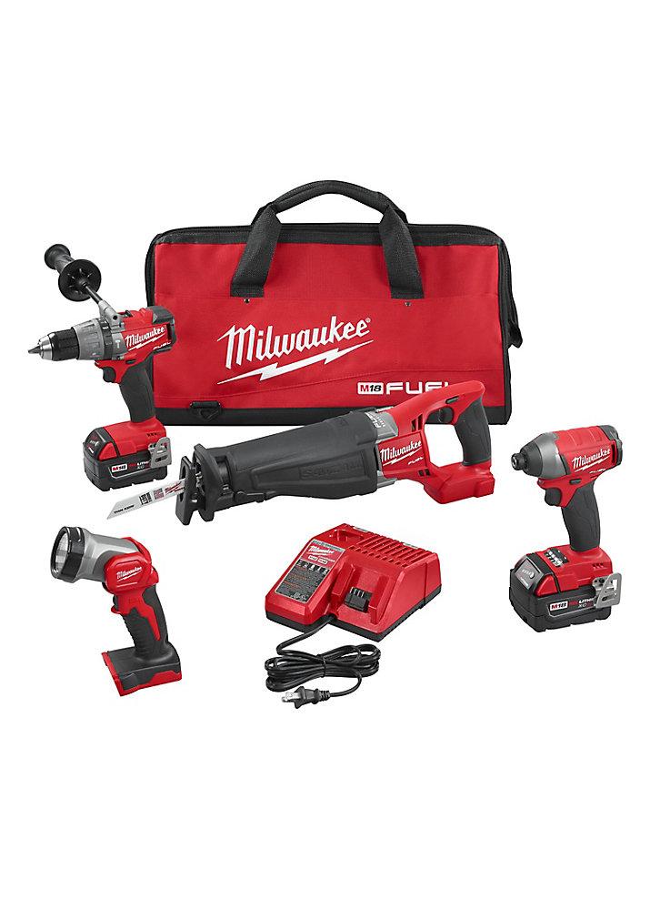 Ens. combiné 4 outilsM18 FUEL, sans balais, sans fil, au Li-ion, 18 V, batteries, chargeur, sac