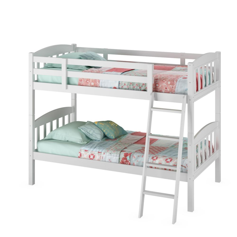 Ashland Twin/Single Bunk Bed In Snow White