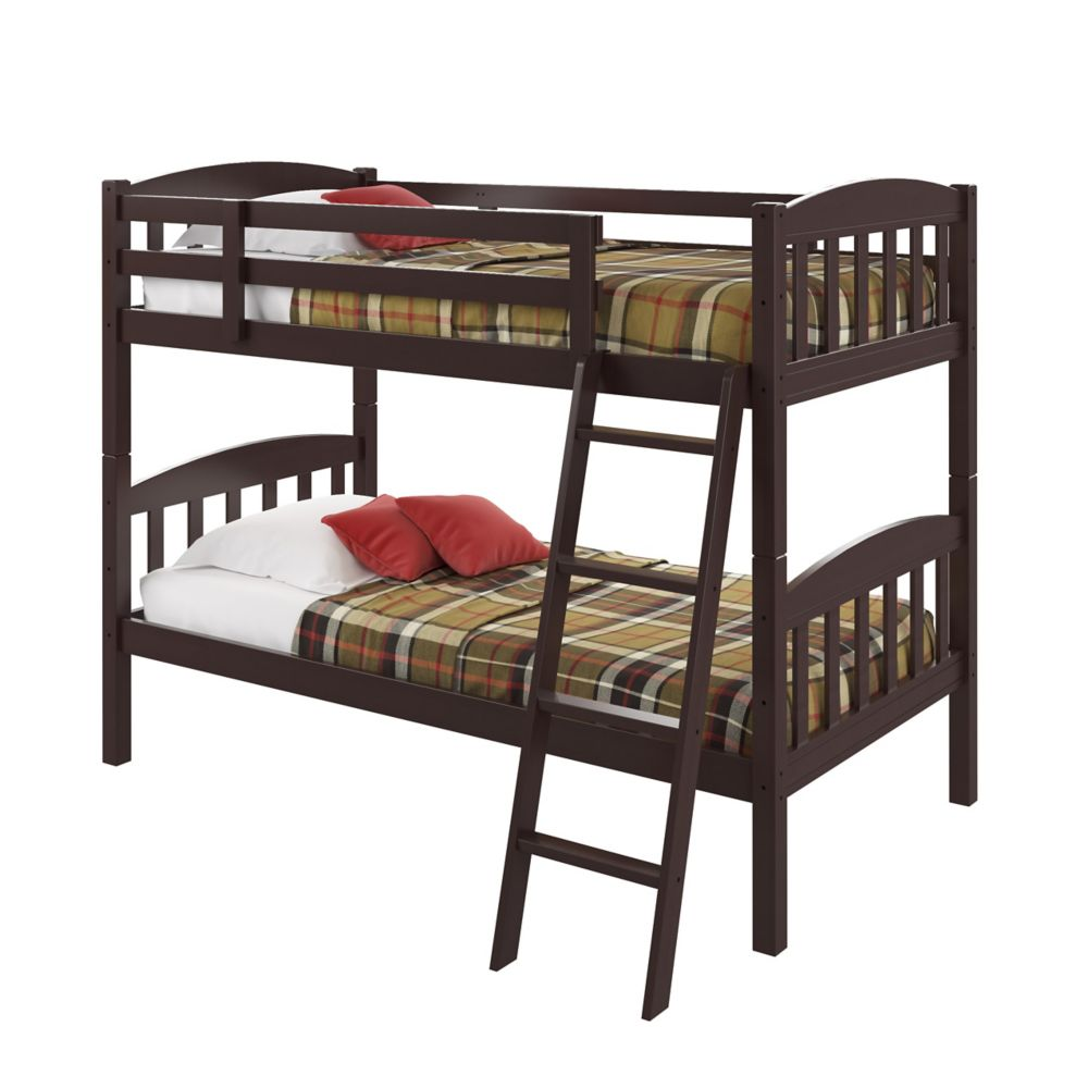 Ashland Twin/Single Bunk Bed In Dark Cappuccino