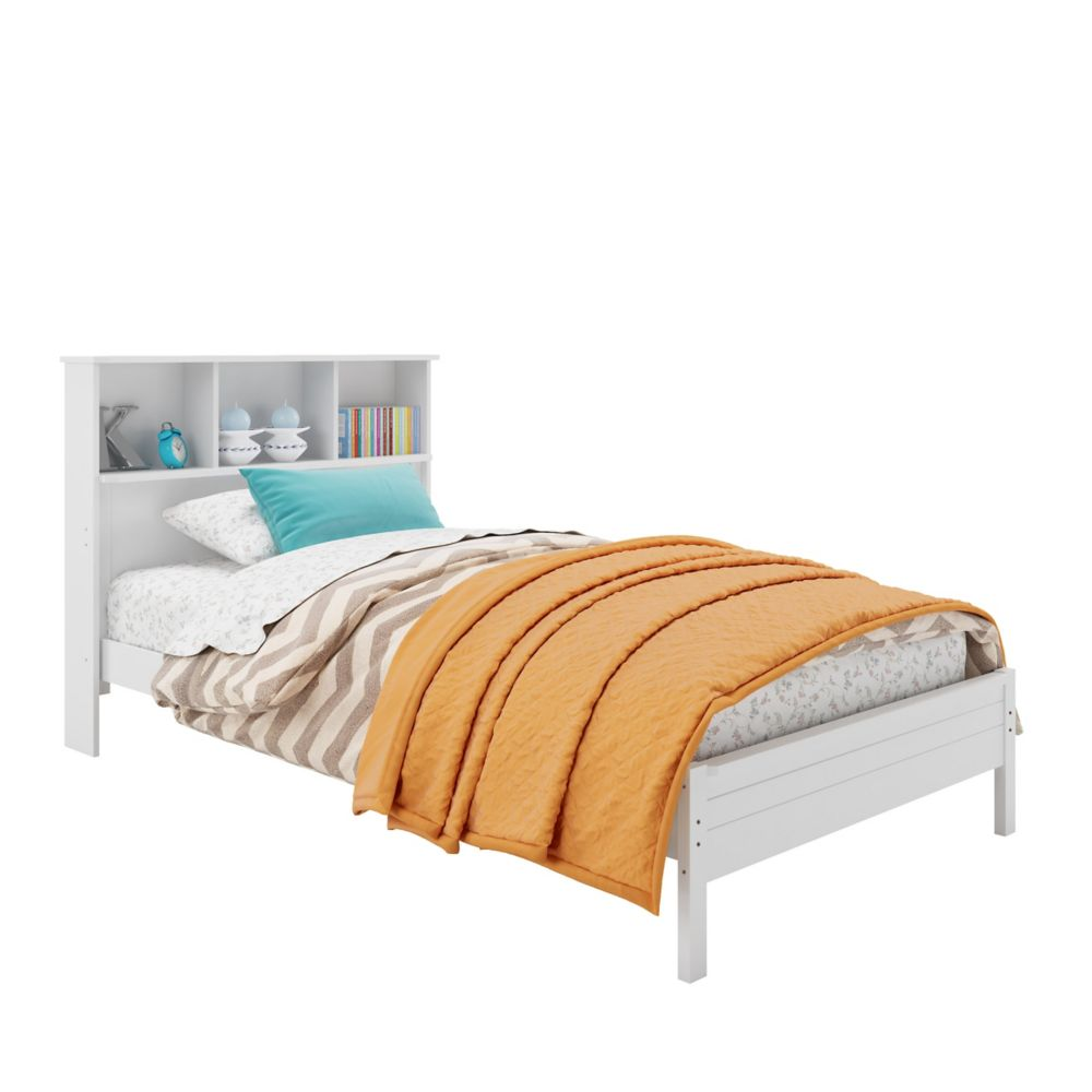 Ashland Twin/Single Bed With Bookcase Headboard In Snow White