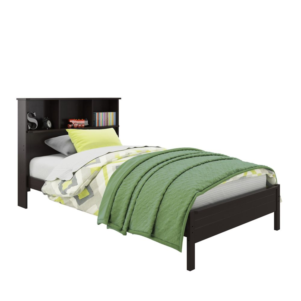 Ashland Twin/Single Bed With Bookcase Headboard In Dark Cappuccino