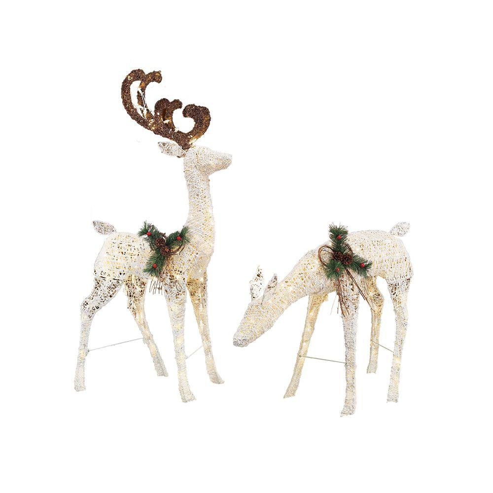 2-Pack LED White Deer And Doe