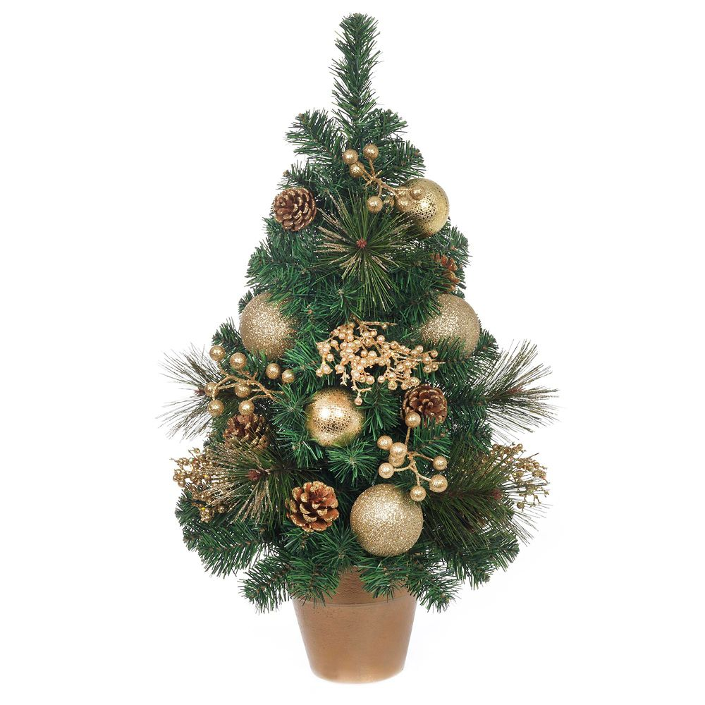 24 Inch Gold Ball, Berry And Cone Pine Tree With Gold Pot