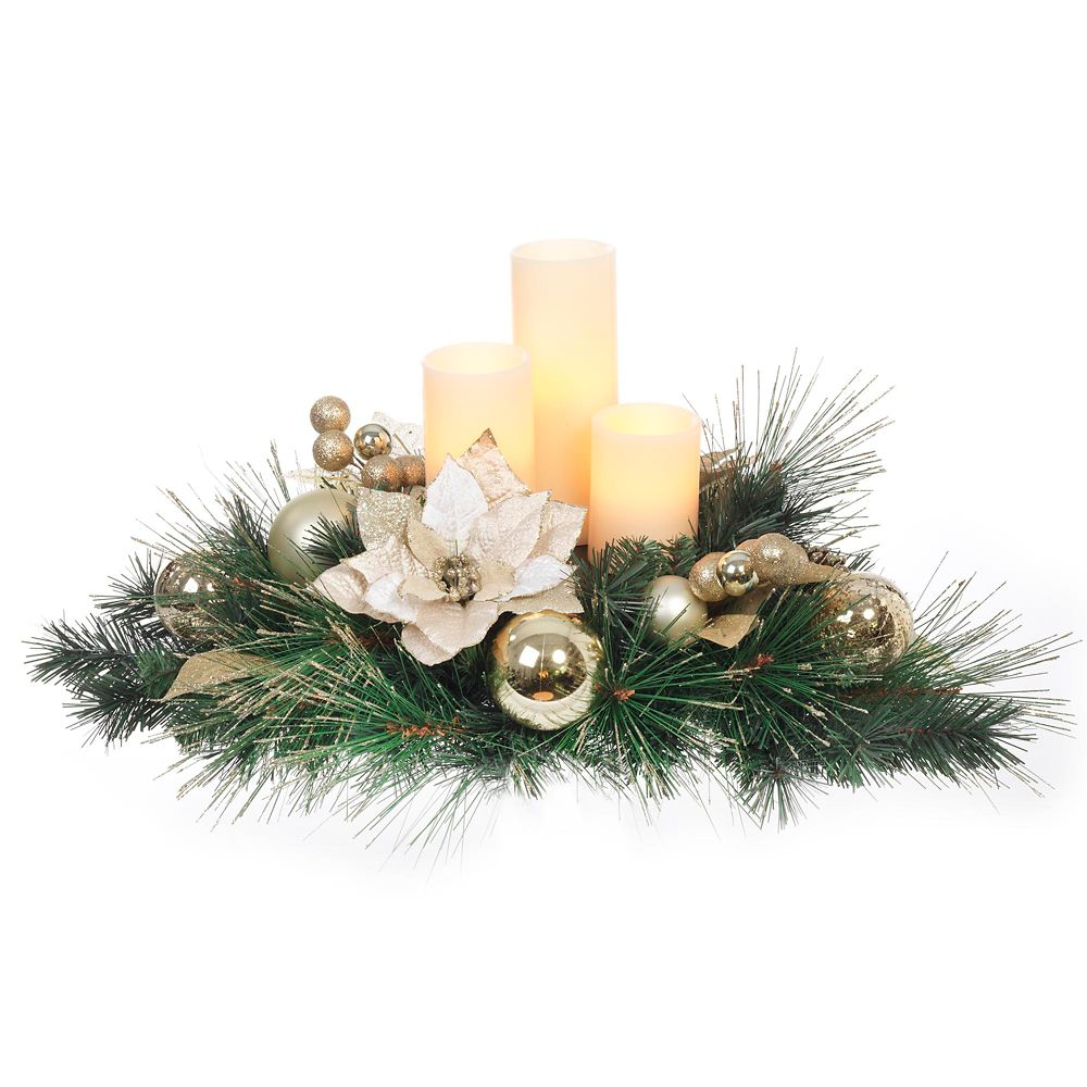 Gold Pointsettia With Candle Centrepiece