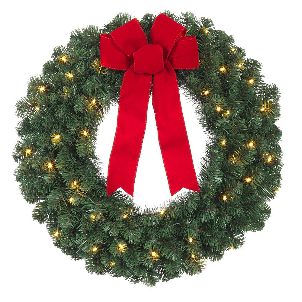 24 Inch B/O Lighted Balsam Pine Wreath W/ Red Bow