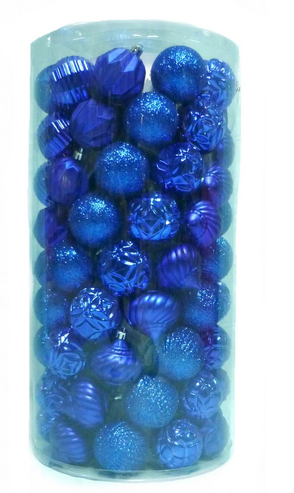 Home Accents Holiday 60mm Shatterproof Ornaments in Blue (101-Count)