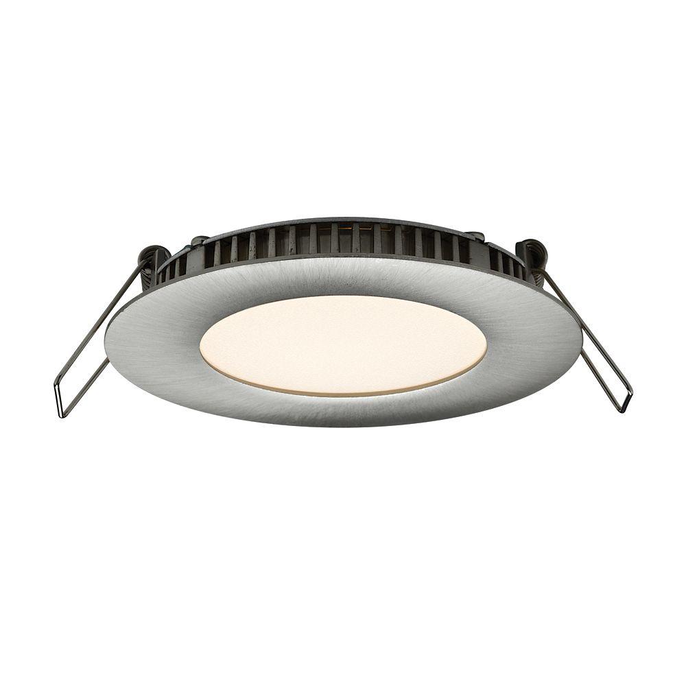 3 Inch Ultraslim Recessed Round LED Panel Satin Nickel