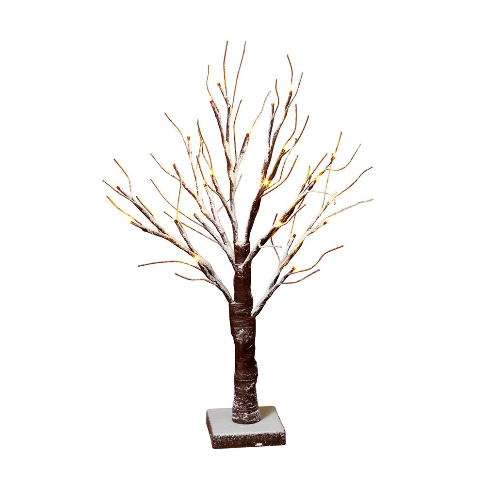 24 Inch 24L Warm White Snowy Tabletop Birch Tree