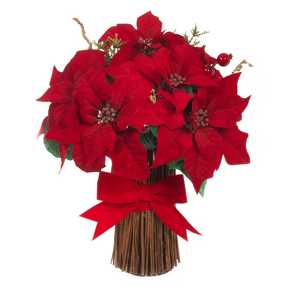 17 Inch Gillter Edge Poinsettia Bundle With Bow