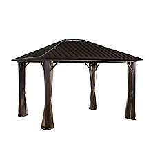 Genova 10 ft. x 10 ft. Sun Shelter Gazebo in Dark Brown