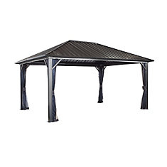 Genova 12 ft. x 16 ft. Sun Shelter Gazebo in Dark Brown
