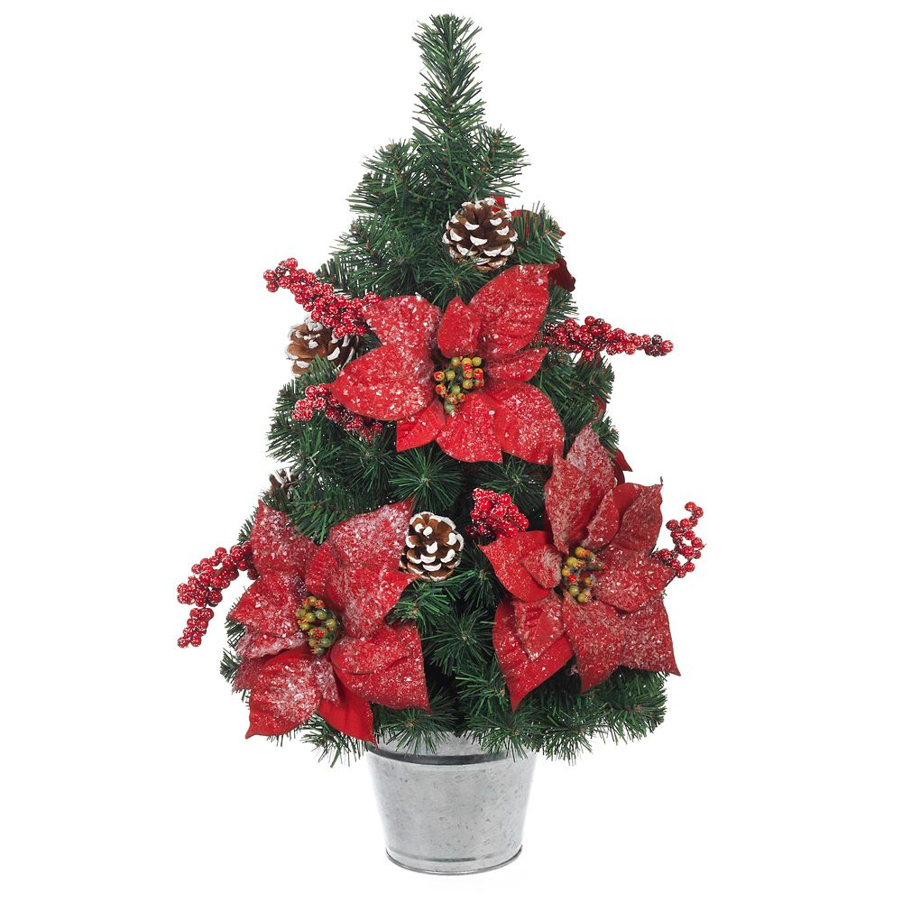 24 Inch Red Poinsettia, Red Berry & Cone Pine Tree with Tin Pot