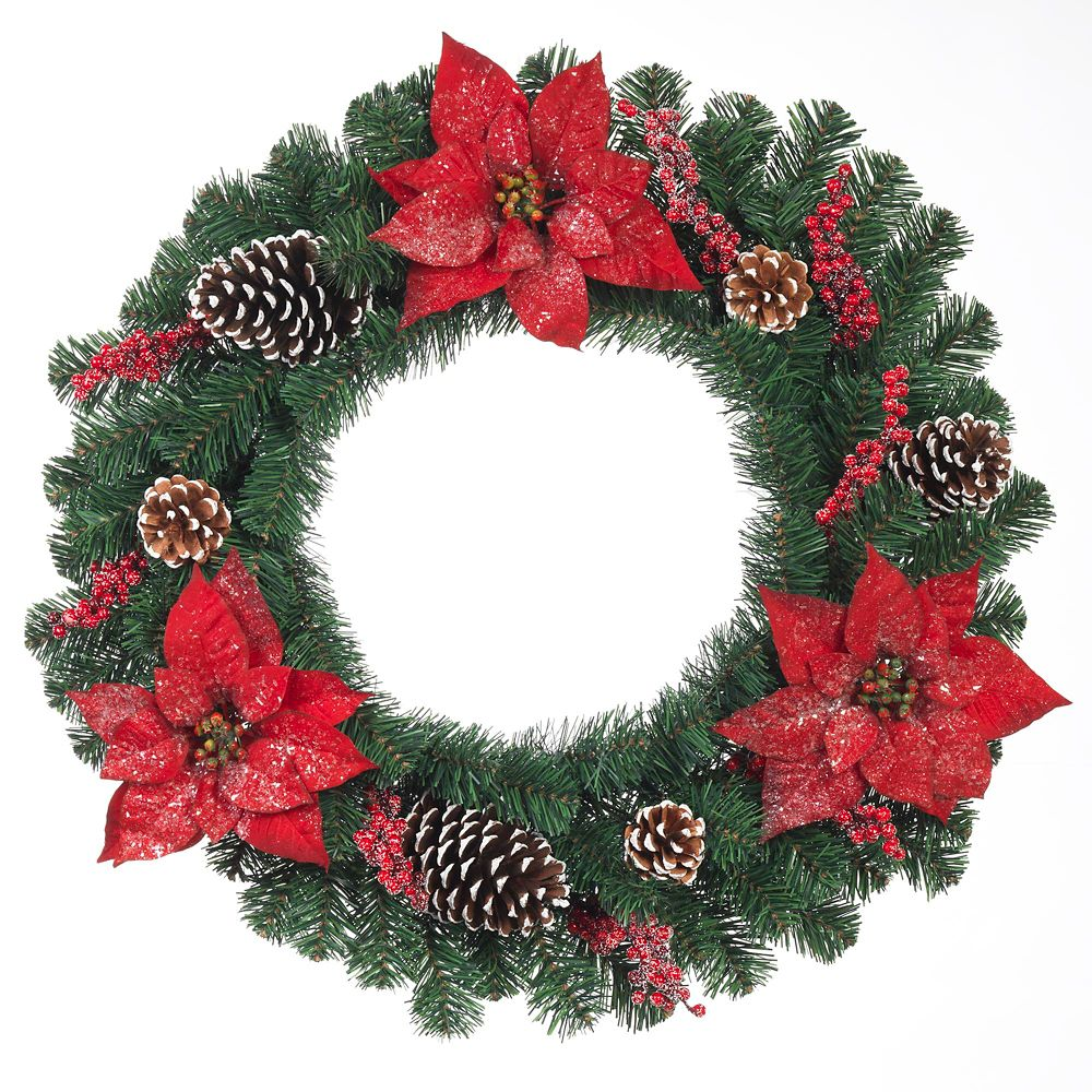 24 Inch Red Poinsettia, Red  Berry And Cone Pine Wreath