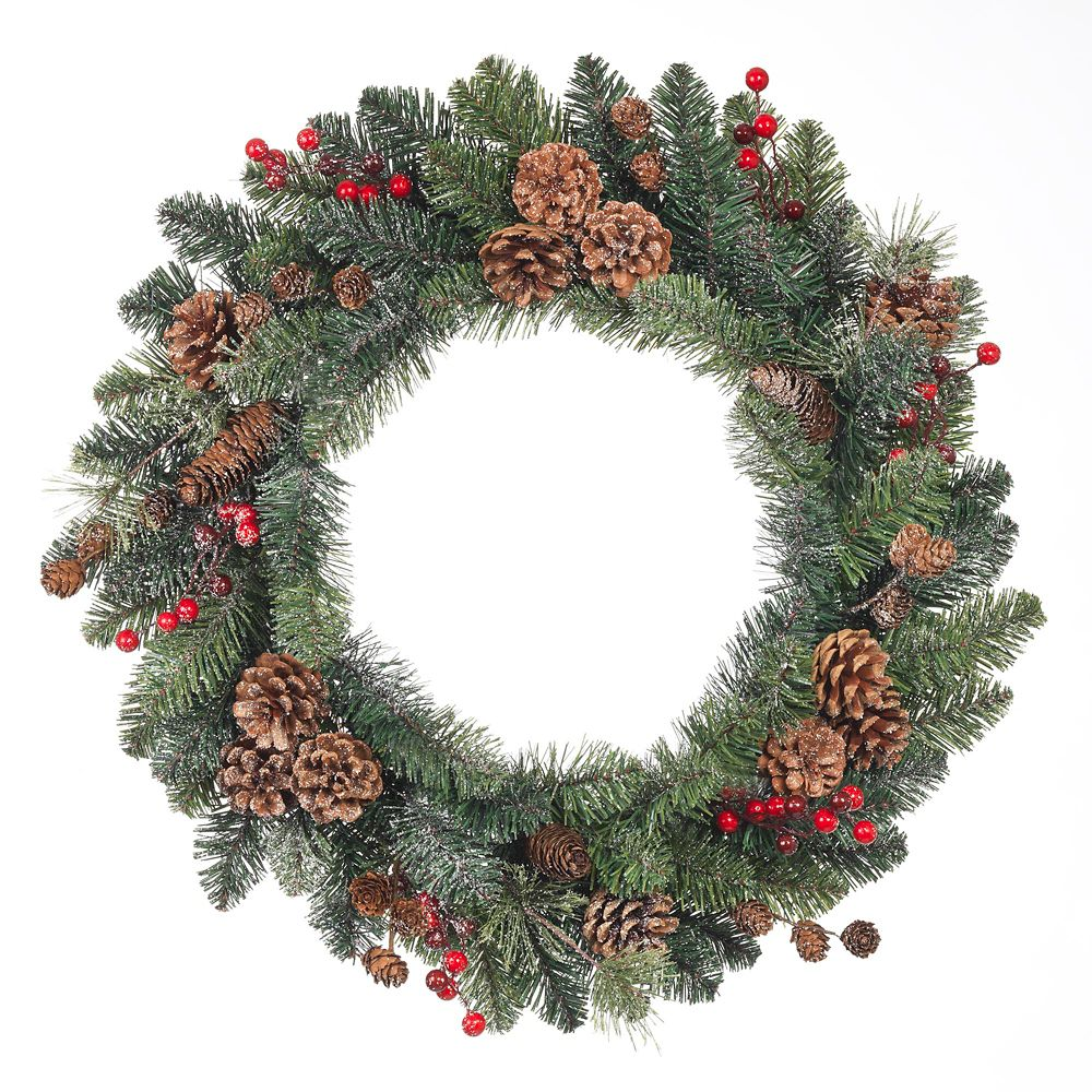 24 Inch Snowy Red Berries, Pinecone And Mixed Pine Wreath