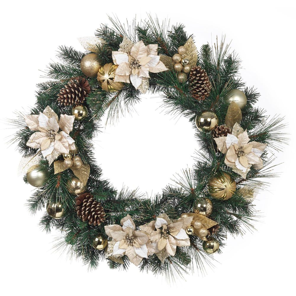 32 Inch Gold Pointsettia Wreath