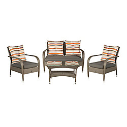 Patio Flare Katerina 4-Piece Wicker Patio Chat Set in Ash Brown Wicker with Dark Grey Cushions